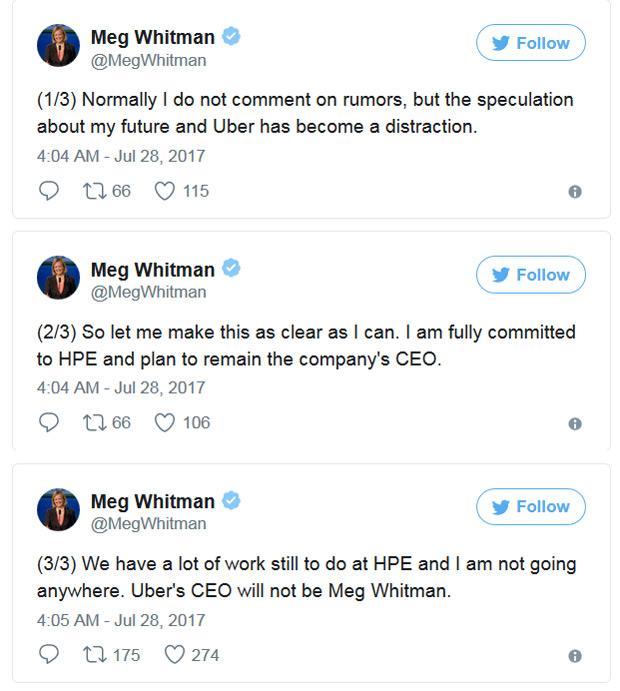 Meg Whitman (HPE) ne sera pas la prochaine patronne d'Uber HPE, HP, Emploi