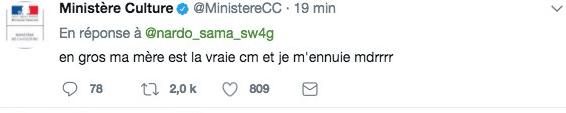 le compte twitter du ministere de la culture detourne par negligence - Le compte Twitter du ministère de la Culture détourné par négligence