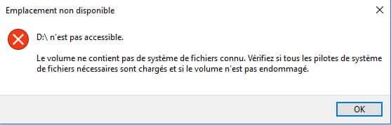 Clé USB demande formatage - message erreur accès