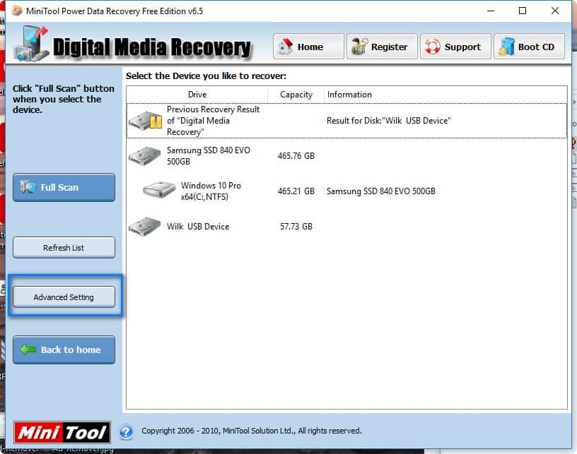 MiniTool Power Data Recovery Free - Reglages avancés