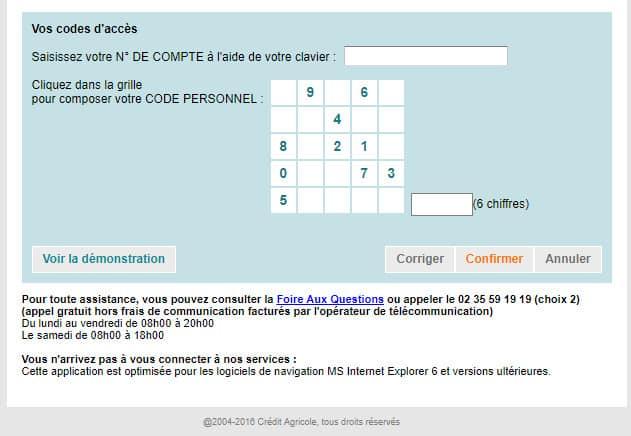 campagne phishing credit agricole fausse page web demande des codes confidentielles