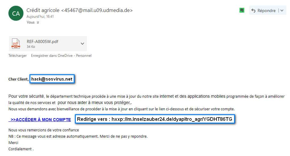 email campagne phishing credit agricole