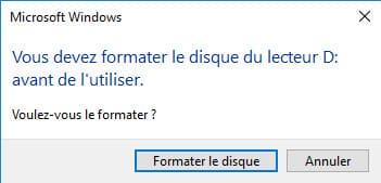 message Cle USB demande formatage