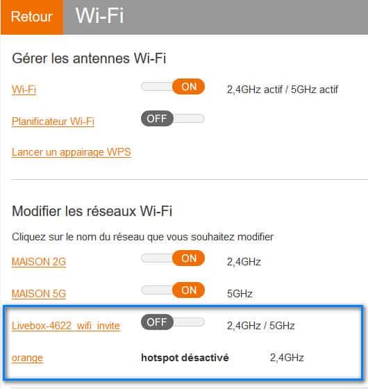 WIFI 2G 5G invité et hotspot livebox orange