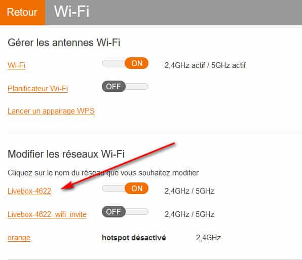 interface menu wifi livebox orange