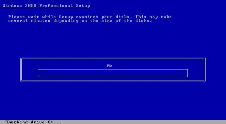 windows 2000 installation