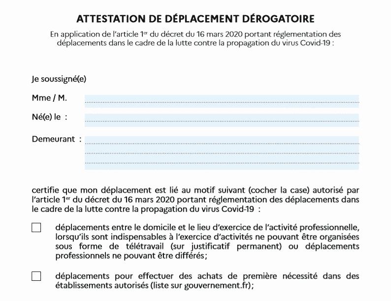 attestation de deplacement derogatoire