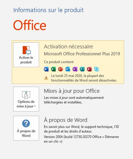Activer Office 2019