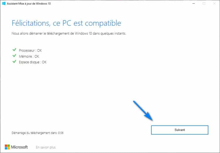 Windows 10 Upgrader check installation Windows 750x524 - Télécharger et Installer Windows 10 2004