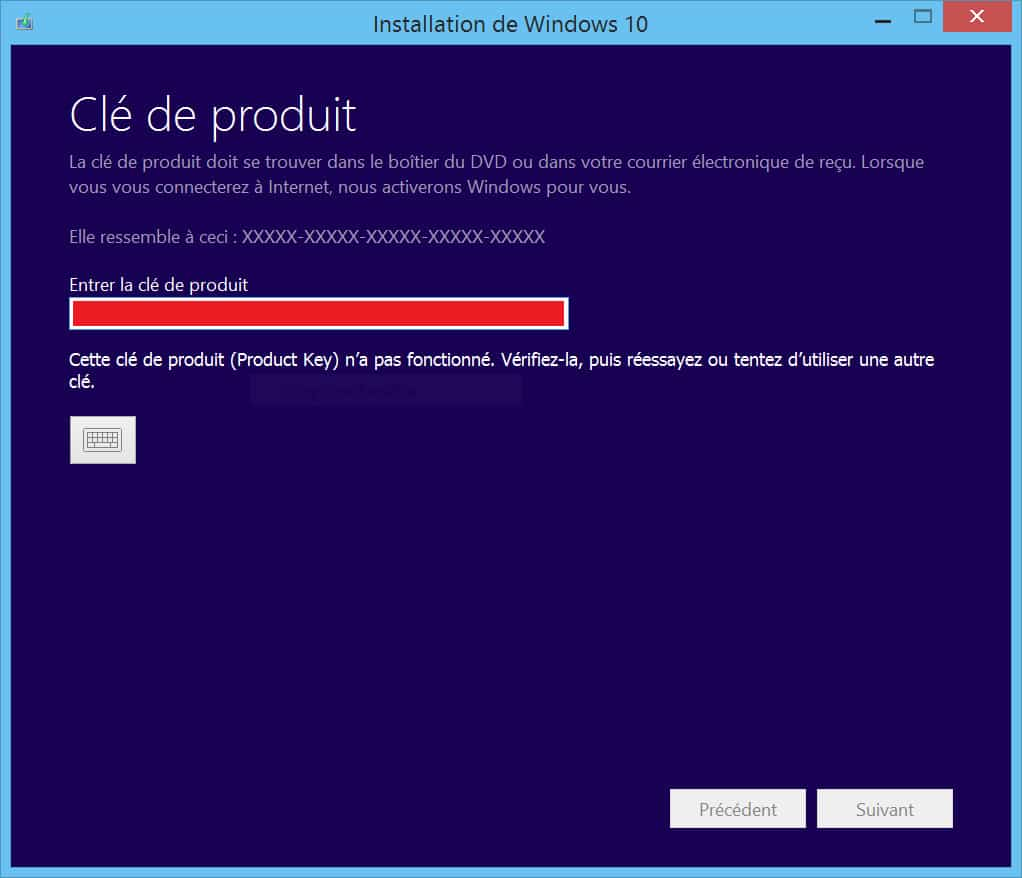 clés de licences produit windows 10