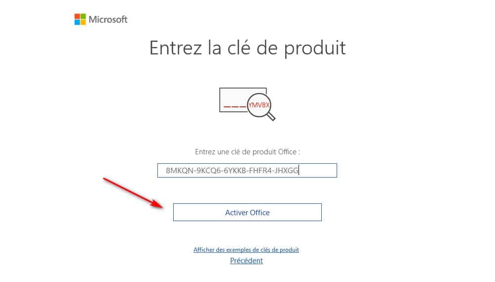 cle de produit office 2016 activer office