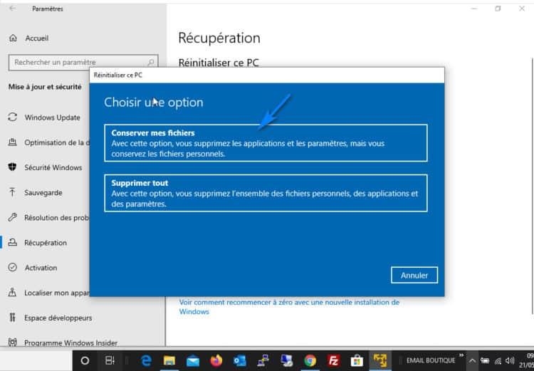 conserver fichiers réinitialisation windows 10 750x521 - Réinitialiser Windows 10 sans perte de données