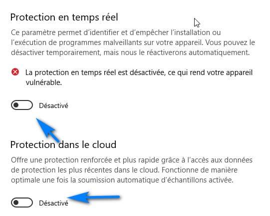 desactiver protection Windows 10