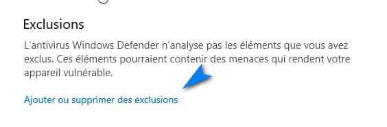 exclure fichier avec windows defender