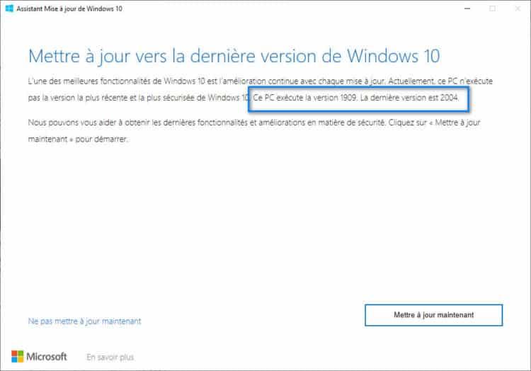 installer windows 10 2004 20H1
