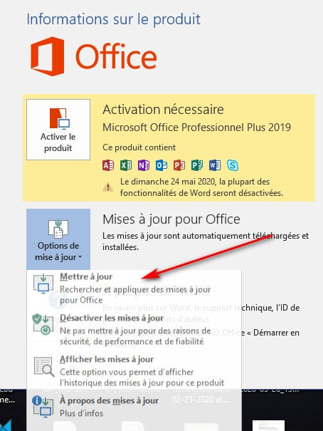 mettre a jour Office 2019 - Comment Installer Office 2019