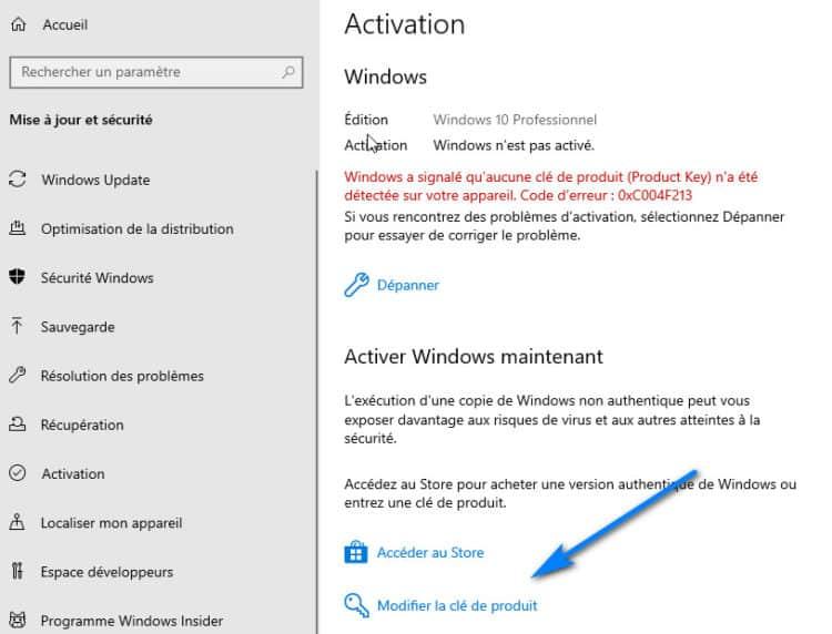 modifier la clé de produit Windows 10 750x572 - Comment Activer Windows 10 Gratuitement