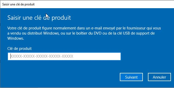 saisir clé de produit Windows 10