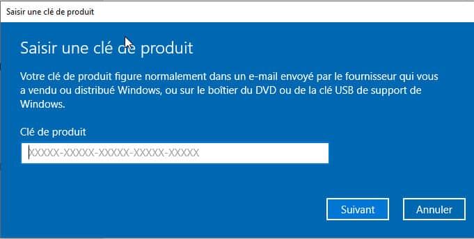 saisir clé de produit Windows 10 - Comment Activer Windows 10 Gratuitement