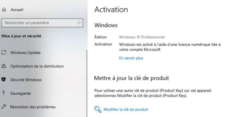Windows 10 activé a l aide d un licence numérique