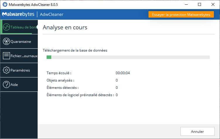 adwcleaner analyse en cours - AdwCleaner pour Windows 10