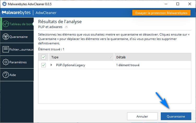 adwcleaner mettre en quarantaine - AdwCleaner pour Windows 10