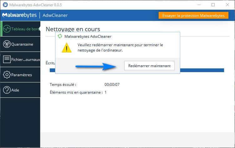 redemarrer windows 10 apres nettoyage - AdwCleaner pour Windows 10