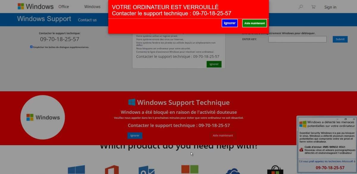 arnaque support Windows