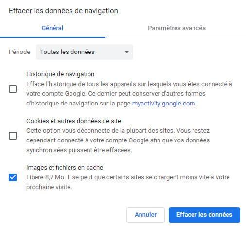 effacer historique navigation google chrome